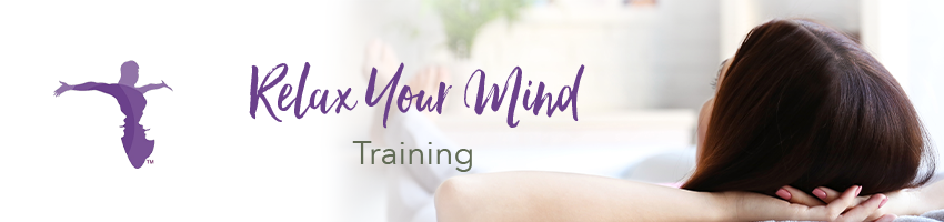 Relax your mind logo with women laying back her leg cross at ankles and holding her head with her 2 hands relaxing